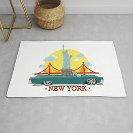 Cabriolet car on the background of the Statue of Liberty and Golden Gate Bridge Rug