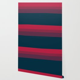 Red navy blue geometrical ombre stripes Wallpaper