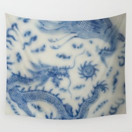 Damask vintage Monaco blue white girly ginger jar floral antique chinese dragon chinoiserie china Wall Tapestry