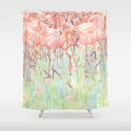 Flamingo Meadow Shower Curtain