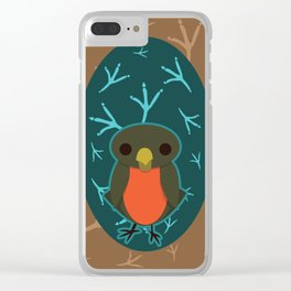 Robin with Foot Prints Clear iPhone Case