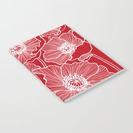 Holly Berry Red Poppies Drawing Notebook
