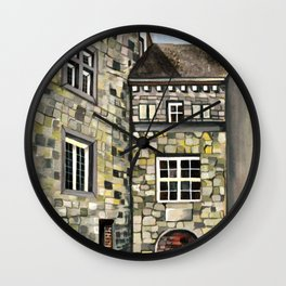Fantastical Picturesque Hand-Painted Castle in Liege Belgium Wall Clock