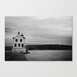 Black and White Breakwater Lighthouse Canvas Print