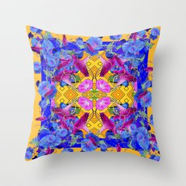 Golden Orange Blue & Fuchsia Morning Glories Garden Art Throw Pillow