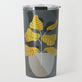 yellow plant and vase in the dark Travel Mug