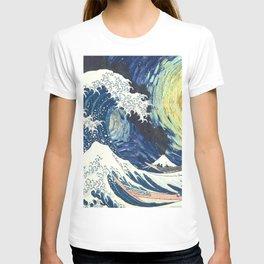 Starry Night Over The Great Wave Off Kanagawa Van Gogh/Hokusai T-shirt