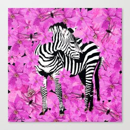 ZEBRA AND PINK FLOWERS and DRAGONFLIES Canvas Print