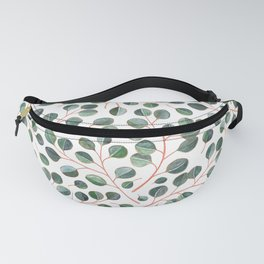 Simple Silver Dollar Eucalyptus Leaves on White Fanny Pack