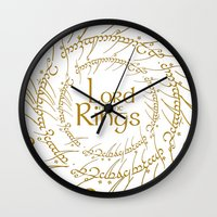 lord of the rings Wall Clocks featuring THE LORD OF THE RINGS by Janismarika