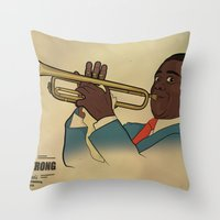 louis armstrong Throw Pillows featuring Louis Armstrong by Borja Espasa