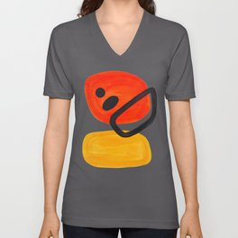 Midcentury Modern Colorful Abstract Pop Art Space Age Fun Bright Orange Yellow Colors Minimalist Unisex V-Ausschnitt