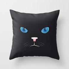 Little black cat Throw Pillow