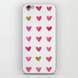 Watercolor Hearts - Pink, Red and Gold iPhone Skin