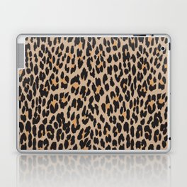 Animal Print, Spotted Leopard - Brown Black Laptop & iPad Skin