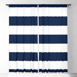 Marinière Nautical Navy Blue and White Mariniere Stripes  Blackout Curtain