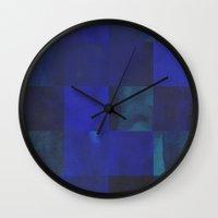 night sky Wall Clocks featuring night sky by Georgiana Paraschiv