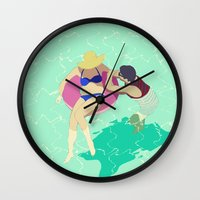 pool Wall Clocks featuring Pool by ministryofpixel