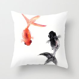 Two KOI , Feng Shui, Fish art, Throw Pillow