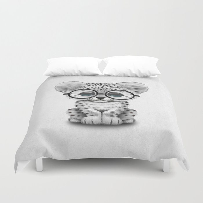 Cute Snow Leopard Cub Wearing Glasses Duvet Cover