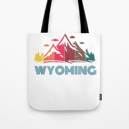 Retro Distressed Wyoming Design for Men Women and Kids Tote Bag