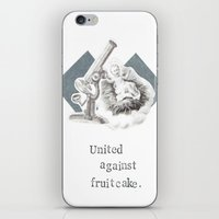atheist iPhone & iPod Skins featuring United Against Fruitcake Holiday Christmas Card by Blue Specs Studio