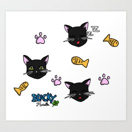 Blacky the cat Art Print