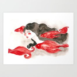 Girl and fishes Art Print