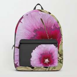 BUTTERFLIES PINK HOLLYHOCKS   CHARCOAL GREY COLOR  FLORAL Backpack