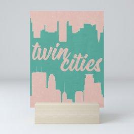 Minneapolis and Saint Paul Minnesota Twin Cities-Pink and Green Mini Art Print