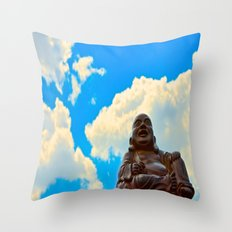 Happy Buddha on a Beautiful Day Throw Pillow