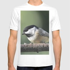 Black Capped Chickadee Mens Fitted Tee White MEDIUM