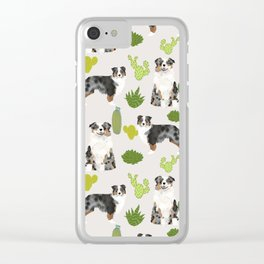 Australian Shepherd owners dog breed cute herding dogs aussie dogs animal pet portrait cactus Clear iPhone Case