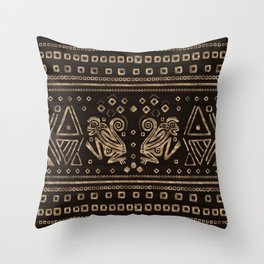 Aztec Monkeys and Ornaments - Gold Throw Pillow
