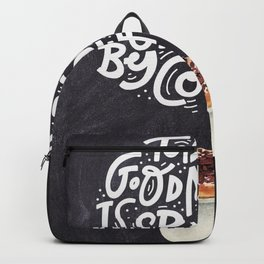 Coffee blackboard lettering — Today's good morning is sponsored Backpack