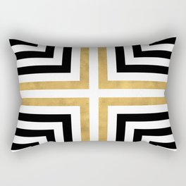 Simple Geometric Cross Pattern- White Gold on Black -Mix & Match with Simplicity of life Rectangular Pillow