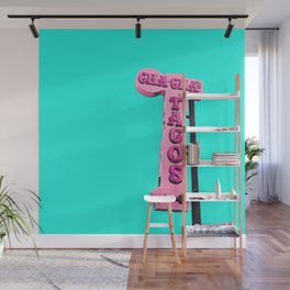 Cha-Cha's Tacos Retro Vintage Pink Sign Wall Mural