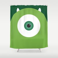 pixar Shower Curtains featuring PIXAR CHARACTER POSTER - Mike Wazowski - Monsters, Inc. by Marco Calignano