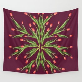 Burgundy and tulips Wall Tapestry
