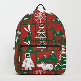 Yeti with forest friends blocks in Red Green Holiday Backpack
