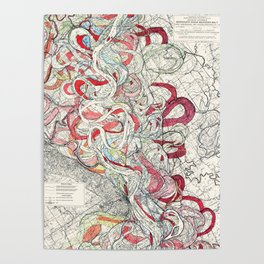 Cool Vintage Map of Mississippi River - Sheet 6 Poster