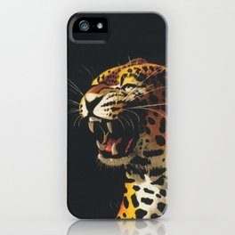 Roaring Leopard Retro Vintage Animal Art iPhone Case