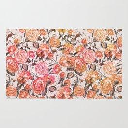 Vintage Floral Watercolor Pattern Rug