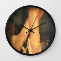 ballerina Wall Clocks featuring Ballerina  by Elina Cate