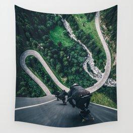 Crazy downhill skateboarders by GEN Z Wall Tapestry