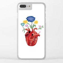 Corazón con flores Clear iPhone Case