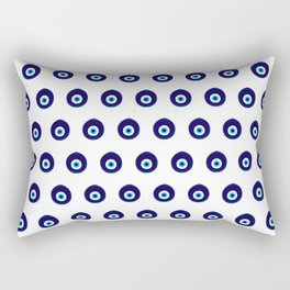 Turkish Blue Eye Bead Pattern Rectangular Pillow