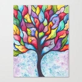 Watercolor Mosaic Tree Canvas Print