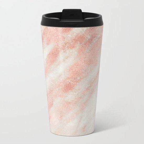 Desert Rose Gold Pink Marble Metal Travel Mug