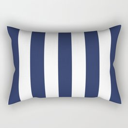 Space cadet blue - solid color - white vertical lines pattern Rectangular Pillow